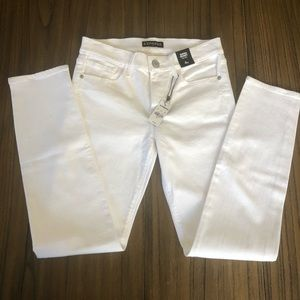 Express White super skinny mid rise jeans